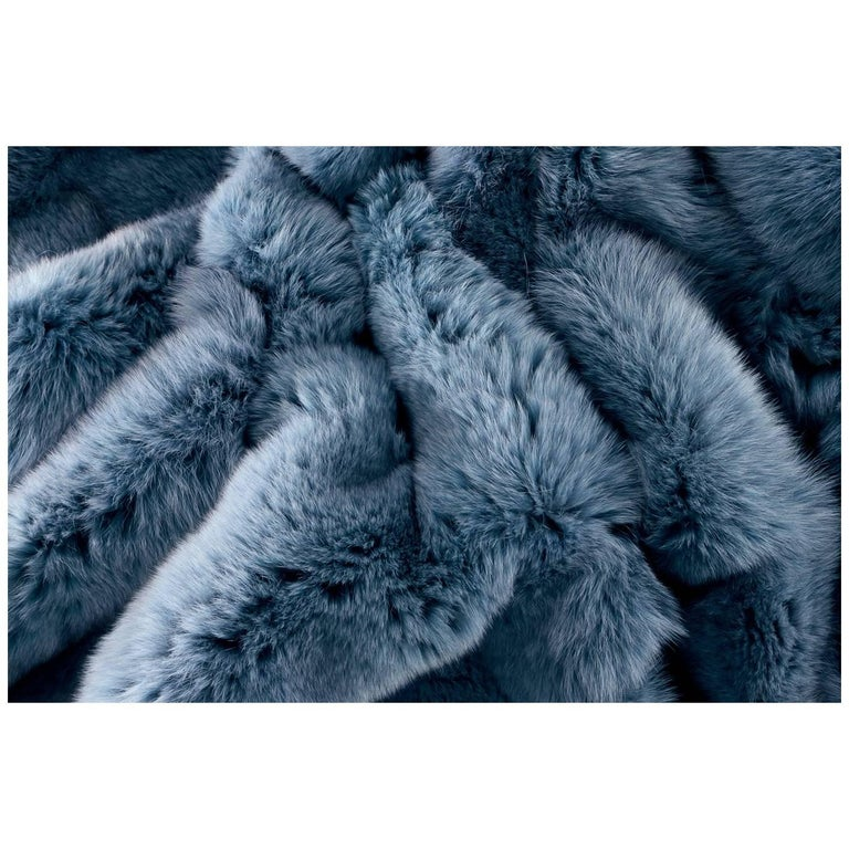 Blue Dyed Arctic Fur Fox Blanket Silk Lining