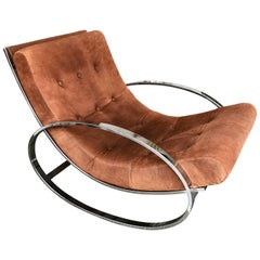 Rocking Chair Leather and Chrome by Renato Zevi, Italy, 1970s