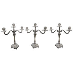 Set of Three Italian Three Lights Silver Candelabras Flowery Baroque Style