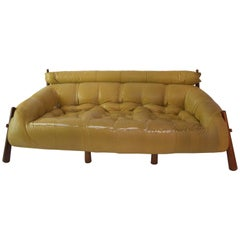 Percival Lafer, Sofa, Wooden and Leather Base, circa 1958, Brazil