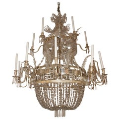 Important Chandelier, Glass and Silver Brass, circa 1925, Sweden