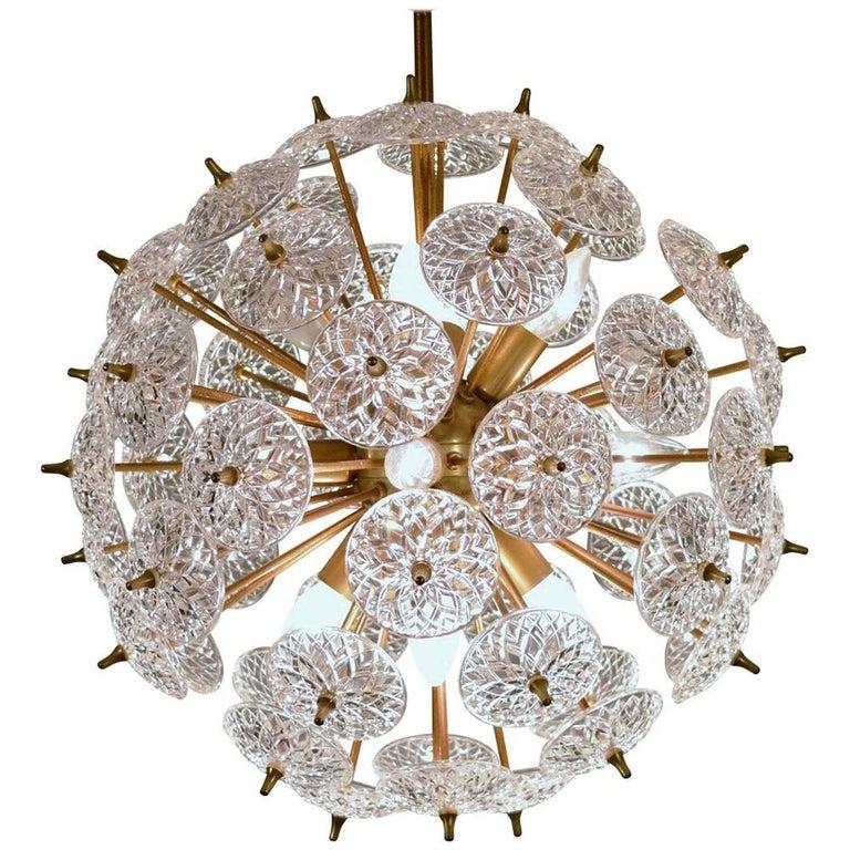 """Chandelier """"Sputnik"""" Brass and Crystal Snowball Design by Emil Stejnar, 1950s"""