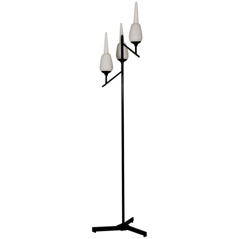 Floor Lamp Metal Brass Opaline Glass Vintage, Italy, 1950s-1960s
