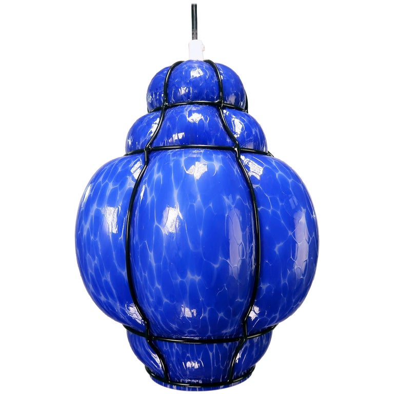 Wiktor Berndt for Flygsfors Caged Mid Century Blue Art Glass Pendant, 1960s For Sale