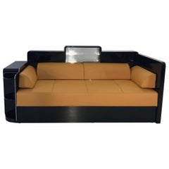 Black Art Deco Daybed or Sofa