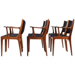 Set of Six Dining Chairs in Rosewood by Johannes Andersen for Uldum Møbelfabrik