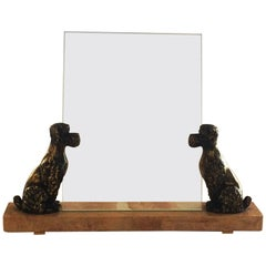 Art Deco Marble Photo Frame with Pair of Poodles