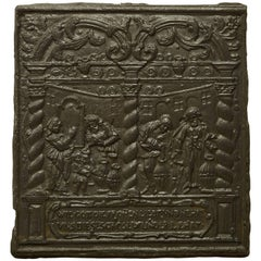 Unique 16th Century Antique Fireback, Biblical Wine Feast