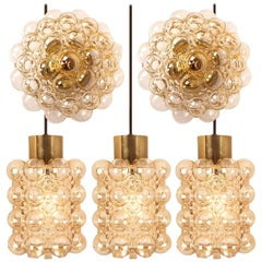 Set of Five Glass Light Fixtures by Helena Tynell for Glashütte Limburg, 1960