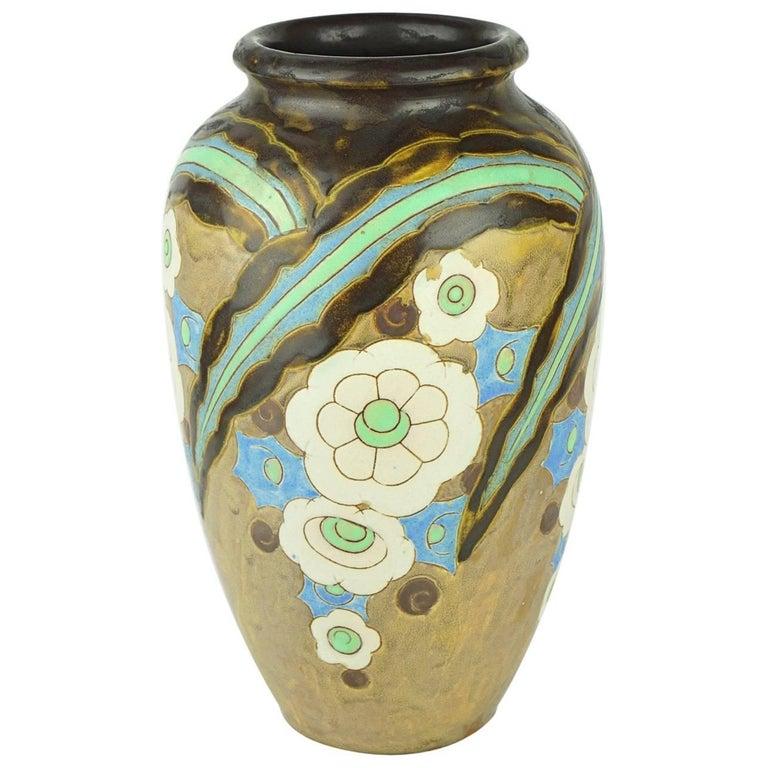 Art Deco Keramis Boch Abstract Flowers Vase