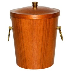 Midcentury Danish Teak and Brass Ice Bucket with Pincer