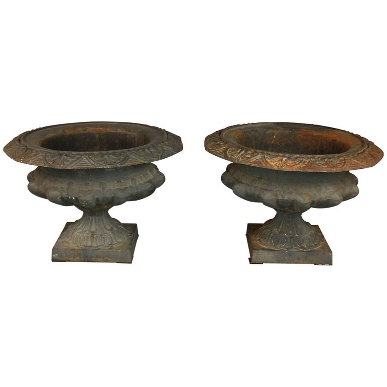 Pair of Cast Iron Urns or Jardinieres, Late 19th Century