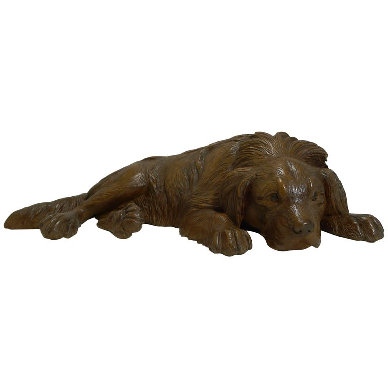 Carved Large Figural Black Forest Dog Figure, circa 1890
