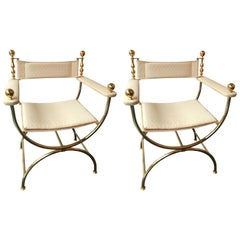 Pair of Brass Neoclassical Curul Armchairs by Romeo, France, 1980s