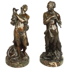 Pair of French 18th Century Bronze Sculpture of Faun and Bacchantin