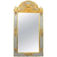 Antique French Giltwood and Grey Painted Overmantel Mirror, 19th Century