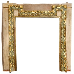 Set of Lintel and Two Jambs, Polychromed Wood, Baroque, 17th Century