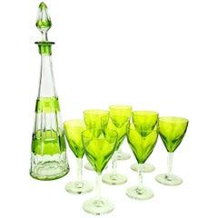 Art Deco Green Val Saint Lambert Liquor Service Decanter and Glasses