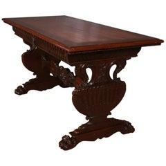 Carved Walnut Desk or Centre Table