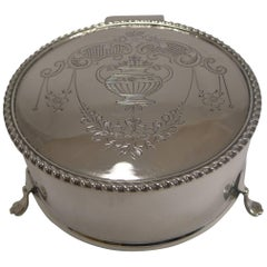 Pretty Antique English Sterling Silver Jewelry Box, 1915