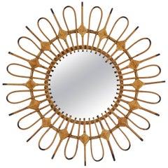 Rare Mid-Century Modern Wicker Rattan Mirror Decorated with Rhombus, Spain 1950s