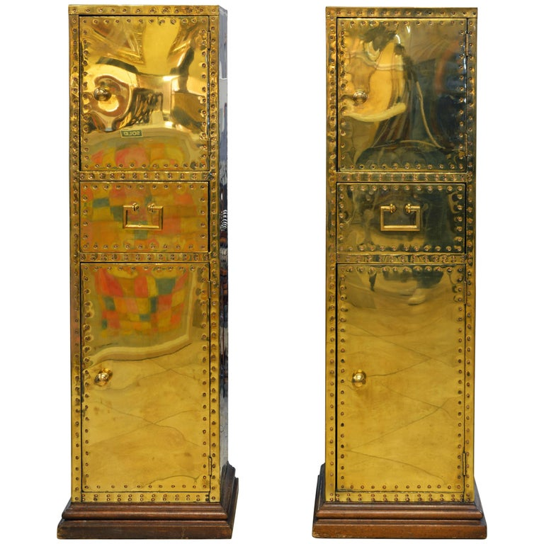 Unusual Pair of Vintage Sarreid Style Copper Nail Brass Clad Pedestal Cabinets For Sale