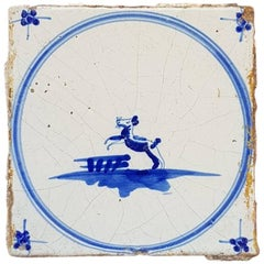 18th Century Delfts Blue Tile with a Jumping Animal