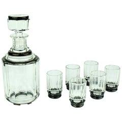 Art Deco Glass Liquor Service Decanter and Glasses