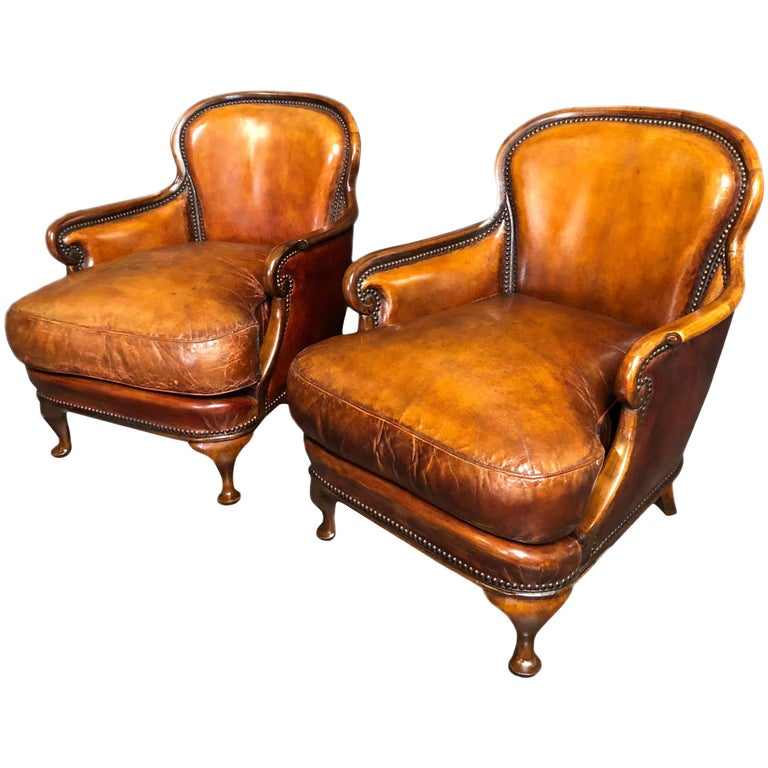 Pair of Small Armchairs Whisky Brown Leather on Walnut Cabriole Legs