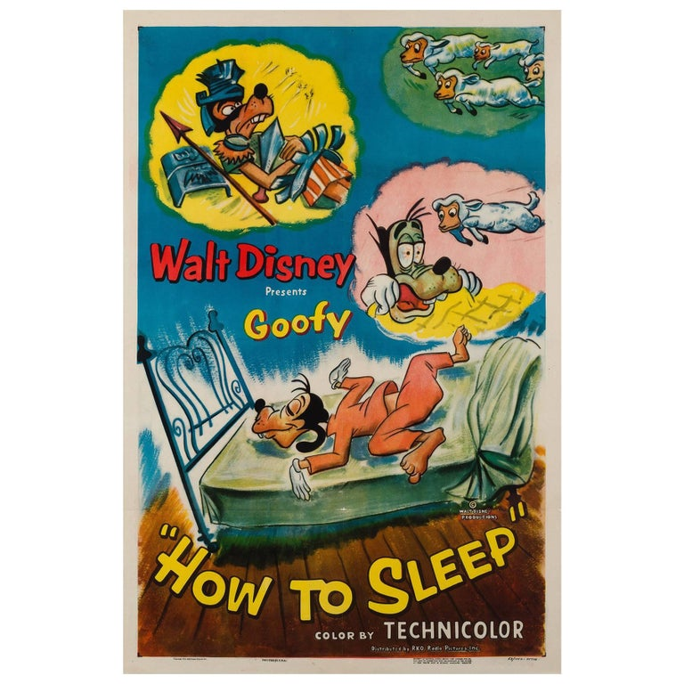 How to Sleep US Film Poster, Disney, 1953