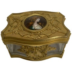 Antique French Napoleon III Crystal Box with Signed Enamel Inset