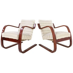 Early Pair of Alvar Aalto Model 402 Chairs for Finmar with Original Upholstery