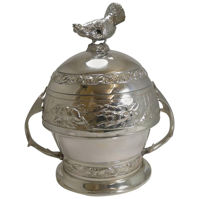 Grand Silver Plated Hunting Tureen by WMF, circa 1920, Signed For Sale