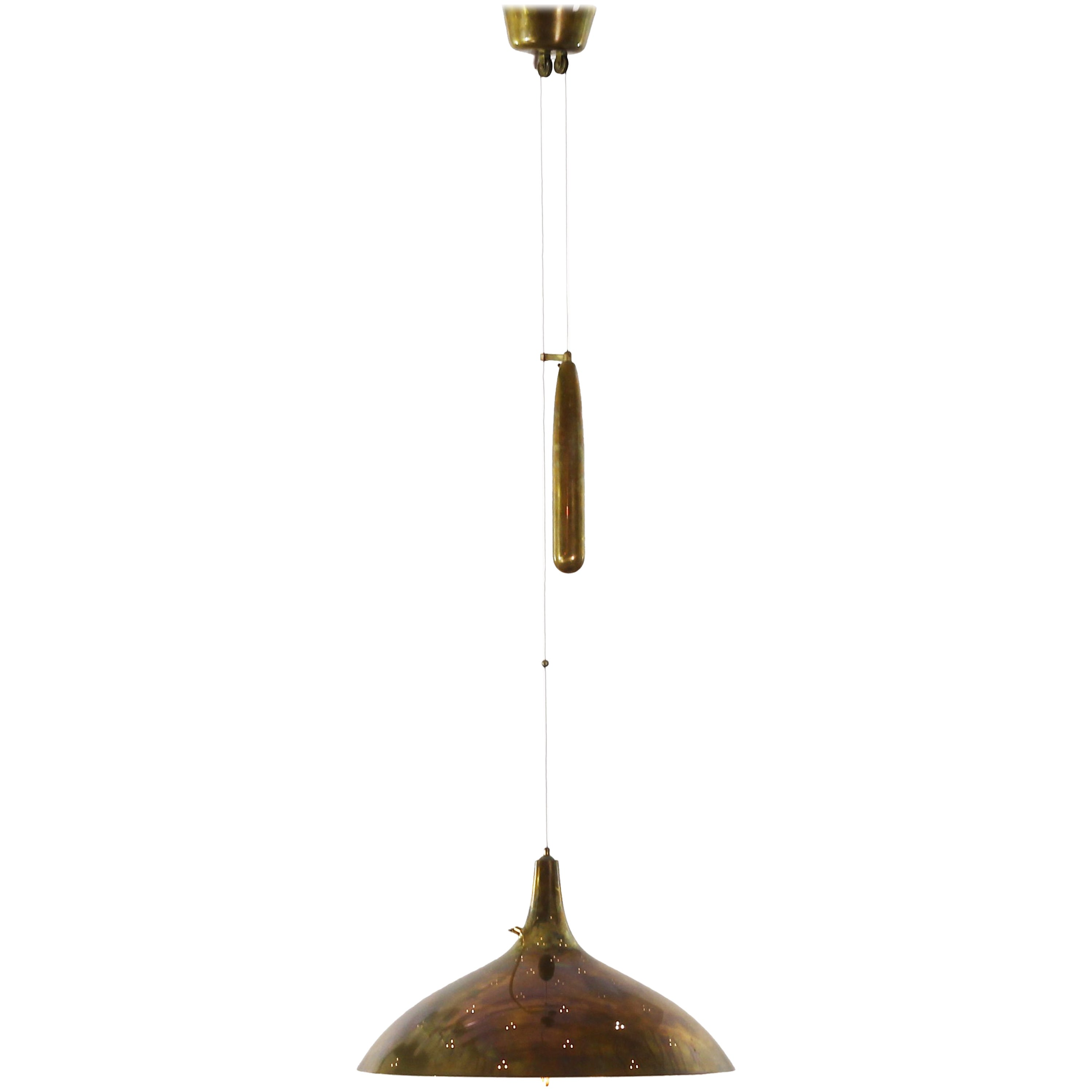 Brass Ceiling Pendant Lamp by Paavo Tynell for Taito Oy , Finland