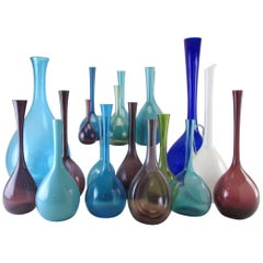 Collection of 19 Mid-Century Modern Swedish Blown Glass Vases