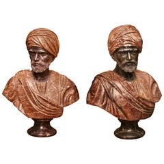 Busts Roman Set of Two Sculpture in Solid Marble