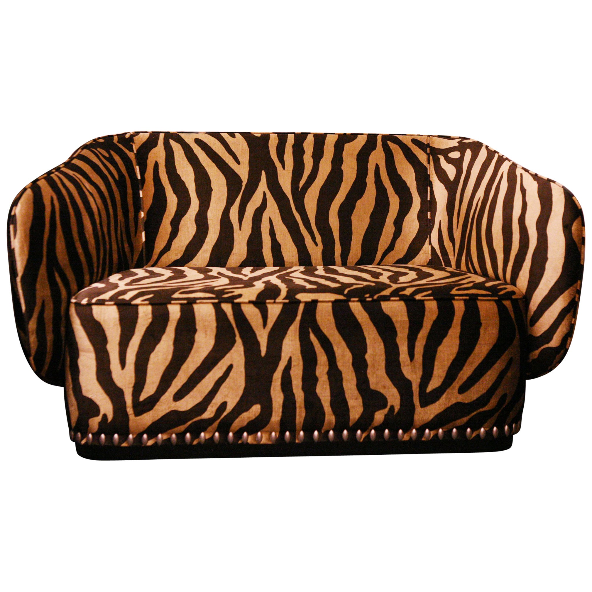 Zebra Gold Sofa in Velvet Fabric
