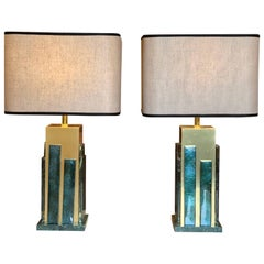 Late 20th Century Pair of Brass and Light Green Murano Glass Table Lamps