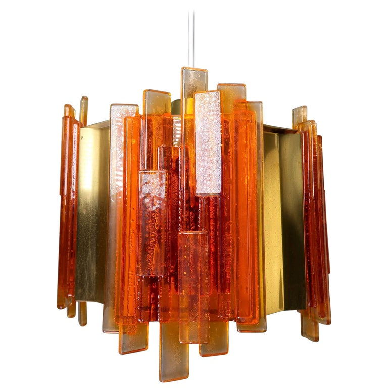Claus Bolby Danish Space Age Orange Sculpted Acrylic and Brass Pendant, 1970s For Sale