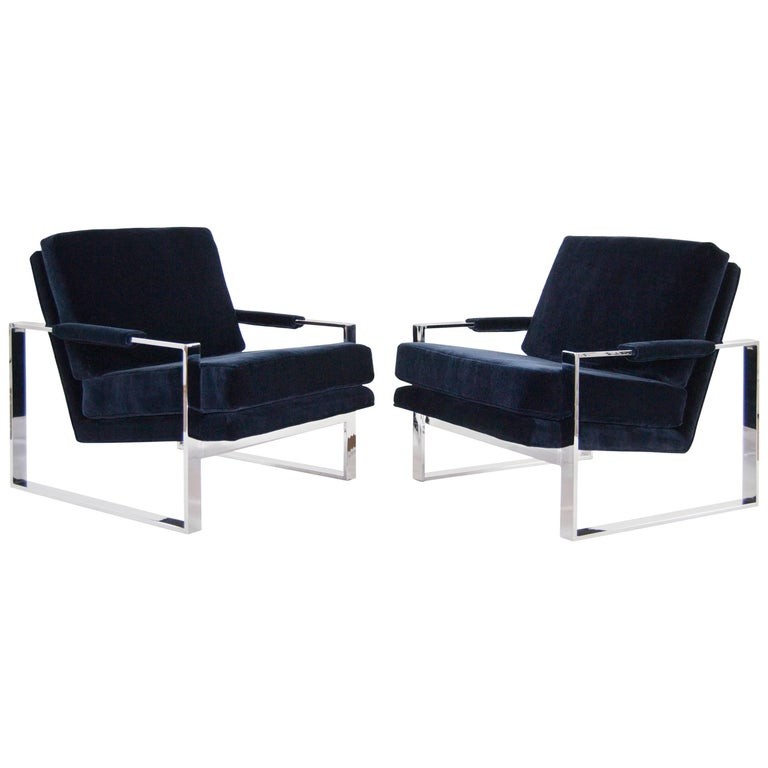 Chrome Flat Bar Lounge Chairs by Milo Baughman
