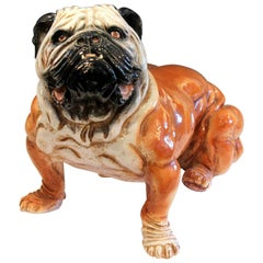 Bull Dog Figure Bellini Sculpture Large Raymor Italian Terracotta Pottery
