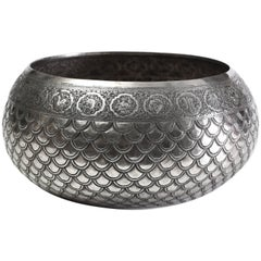 Solid Silver Hand-Worked Burmese Ceremonial Bowl, Zodiac Motif in Relief