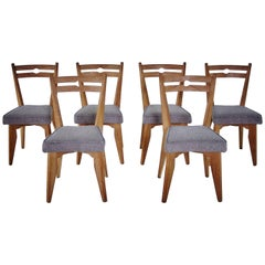 Guillerme & Chambron Set of Six Thibault Chairs, circa 1960