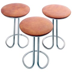 Rare Suite of Piano Stools by Poul Henningsen with Leather Seats