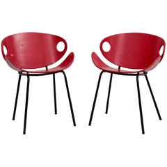 Rare Pair of Red Olof Kettunen Chairs for Merivaara, Finland, 1950s