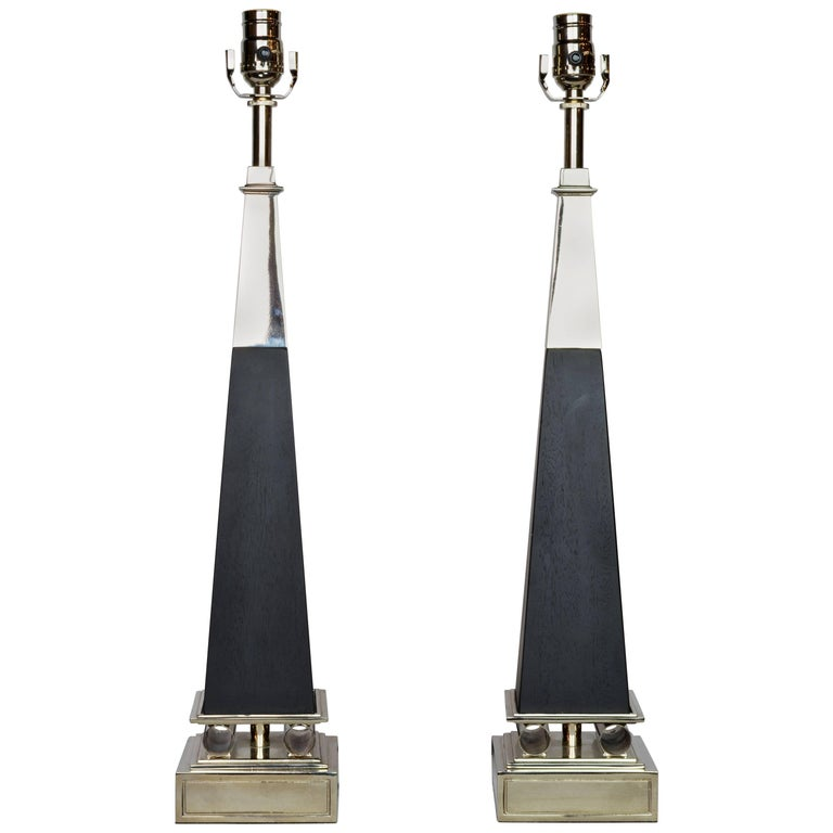 Pair of Chrome and Ebonized Wood Obelisk Lamps by Tommi Parzinger for Stiffel For Sale