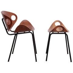 Set of Olof Kettunen Chair and Stool for Merivaara, Finland, 1950s