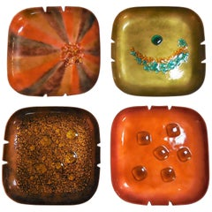 Abstract Bovano Enamel Bowls or Ashtrays, Collection of Four