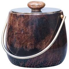 Aldo Tura Brown Goatskin Ice Bucket