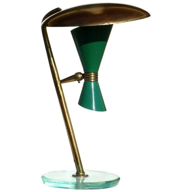 Italian Lamp Midcentury Design 1950s Green Table Lamp